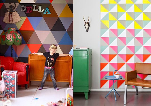 Dormitorios infantiles decorados con triángulos - CharHadas