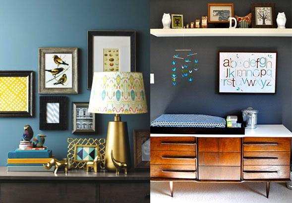 Azul tinta y dorado: Aire moderno para el cuarto del bebé - CharHadas