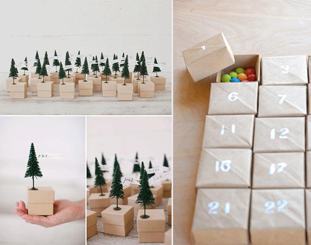 Calendario de adviento con pinos