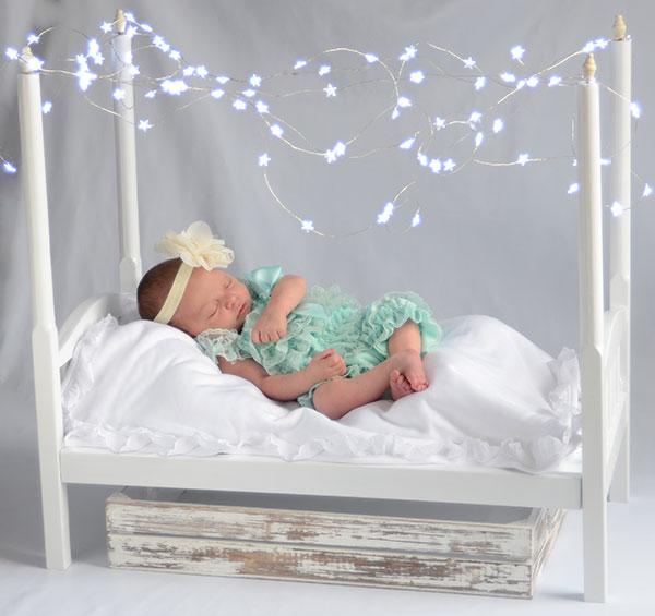 Cama madera dosel estrellas atrezzo decorados bebés Recién nacidos sesiones fotos