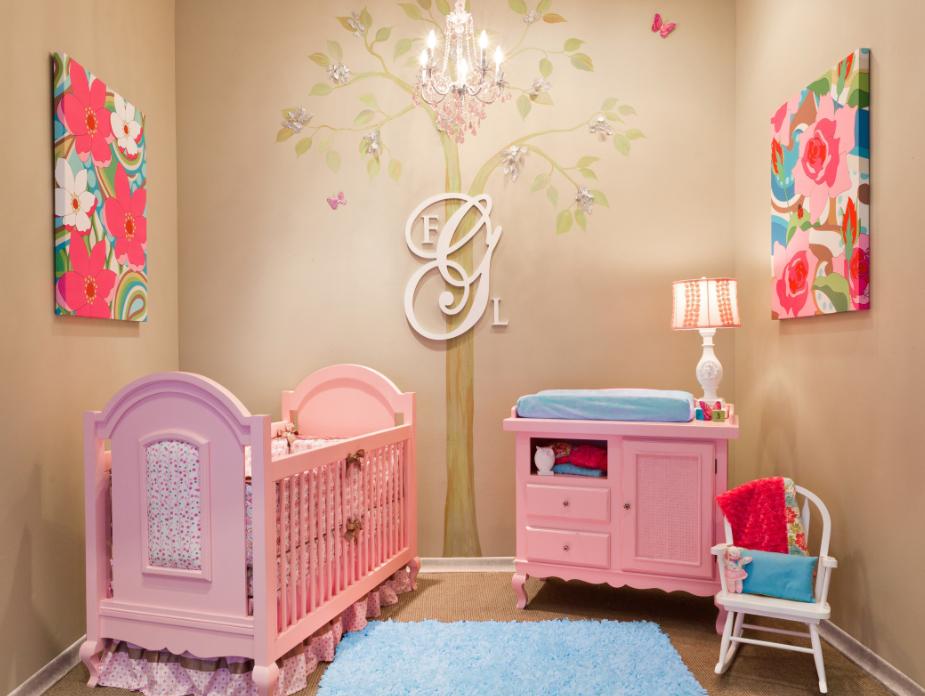 Dormitorios de bebes con glamour mod