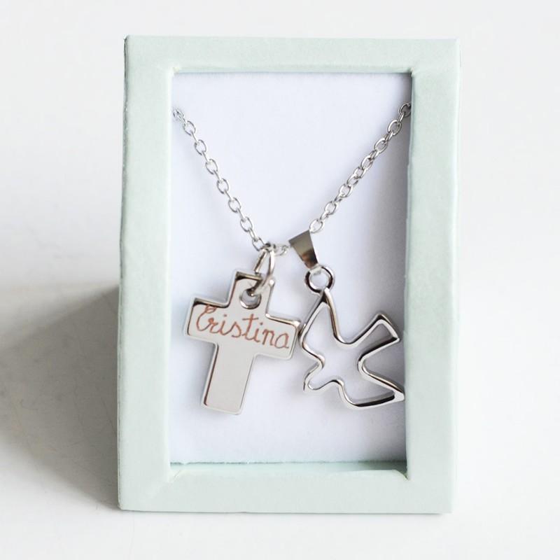 Collar cruz paloma regalos niñas Comuniones Limonae joyas regalos originales