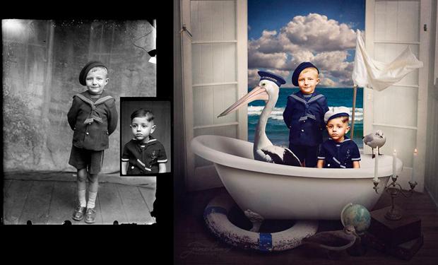 Imágenes antiguas en blanco y negro coloreadas