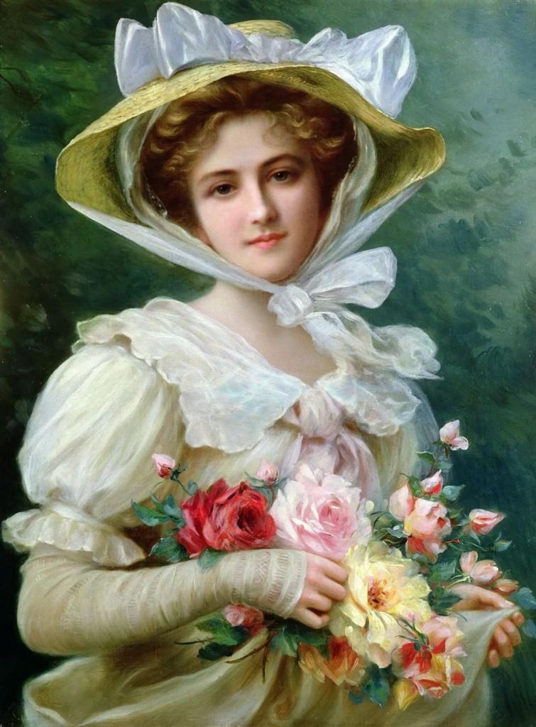 Joven con rosas victoriana