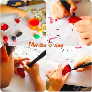 Pintando piedras de monstruos con los peques