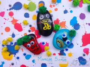 Monstruos en piedras pintados y decorados para los peques