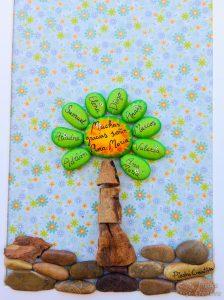 Manualidad árbol de nombres con piedras pintadas
